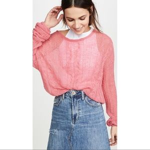NWT FREE PEOPLE Angel Soft Sweater Bubble Gum Pink